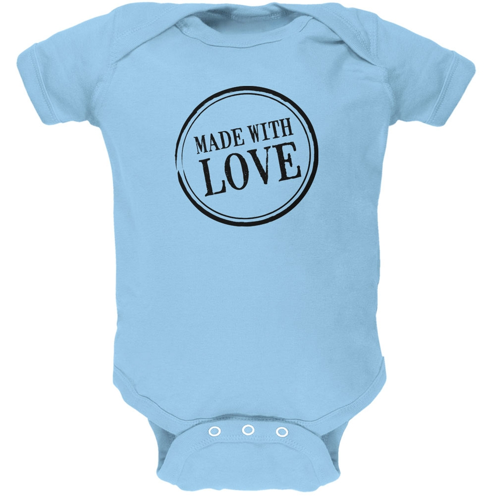 Valentine's Day - Made With Love Light Blue Soft Baby One Piece