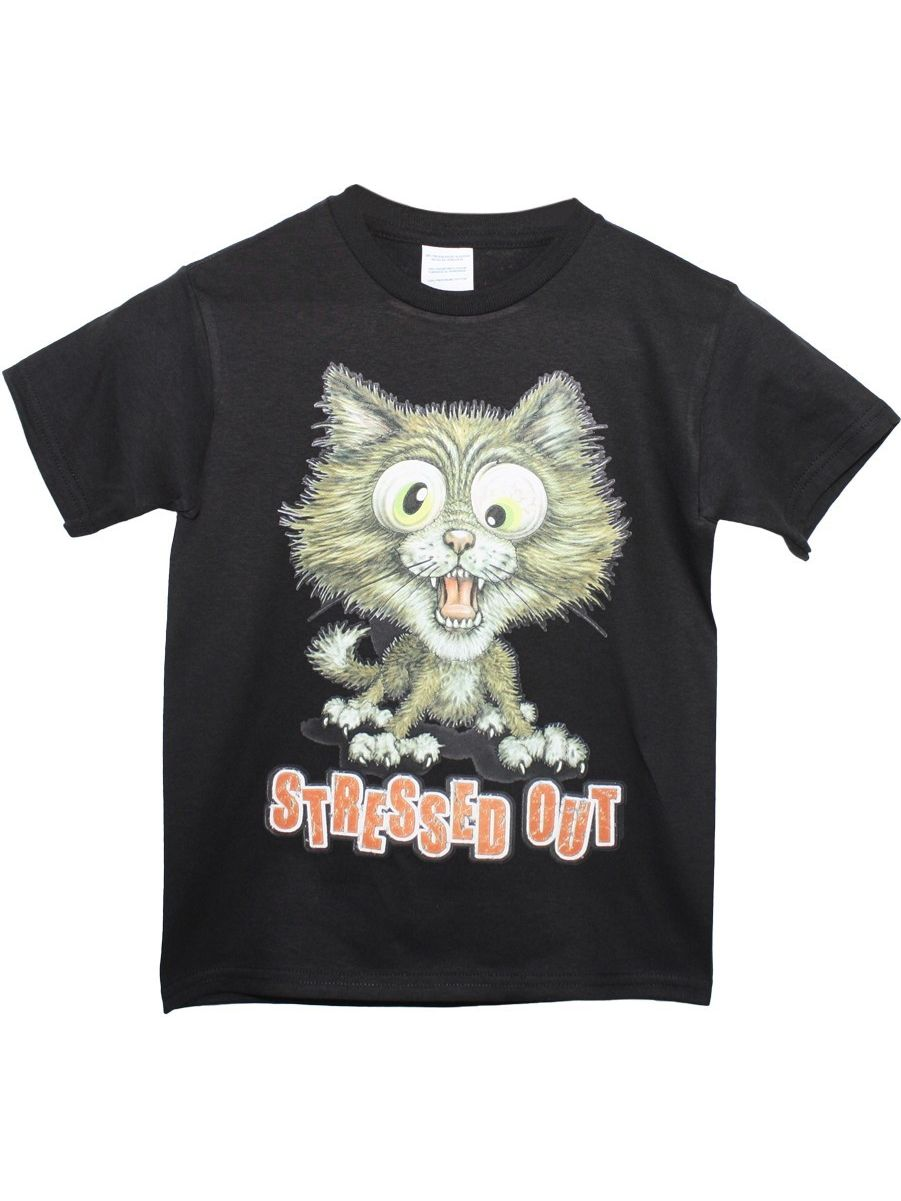 "Girls Black Cat ""Stressed Out"" Print Short Sleeve Cotton T-Shirt"