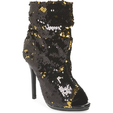 Sequin Black Boots (Lauren Lorraine Marlow Black and Gold Sequin Peep Toe High Heel Slouch)