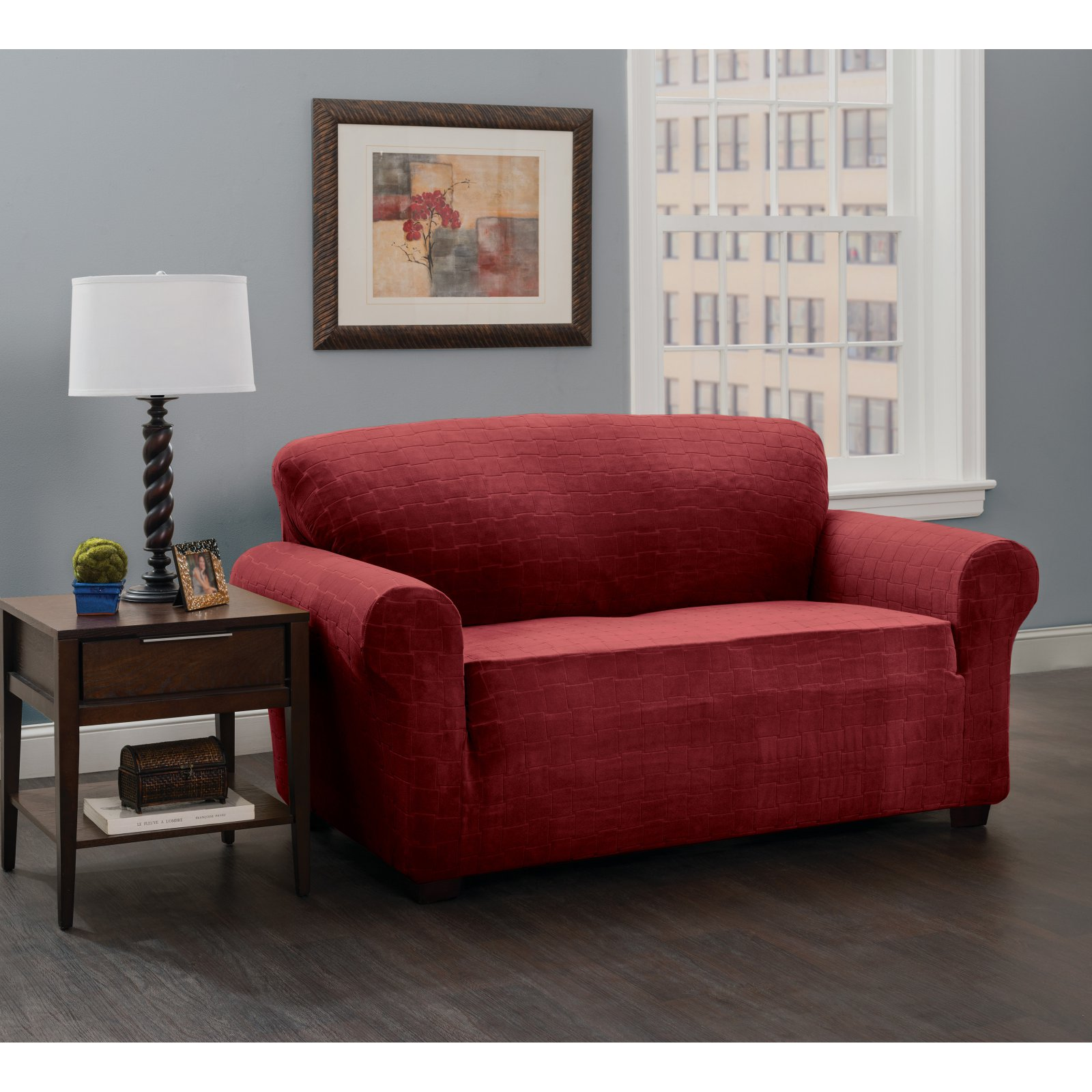 Stretch Sensations Stretch Basketweave Loveseat Slipcover