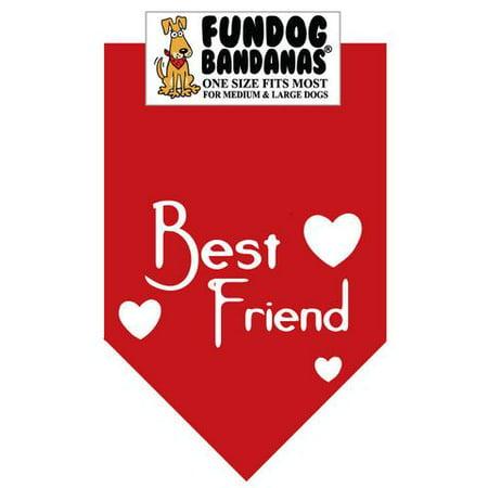 Fun Dog Bandana - MEILLEUR AMI - Taille unique pour Med à Lg Chiens, écharpe rouge animal