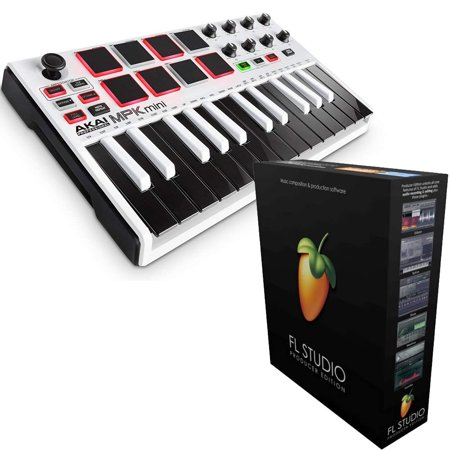 akai mpk mini mk2 white keyboard with fl studio 20 producer edition download card for windows. Black Bedroom Furniture Sets. Home Design Ideas