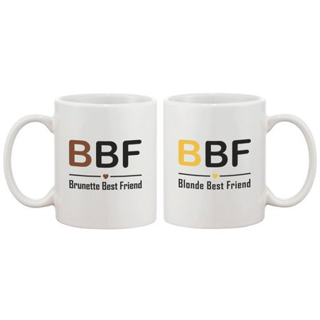 365 Printing Inc Brunette Best Friend and Blonde Best Friend 2 Piece Coffee Mug (Blonde Brunette Best Friend)