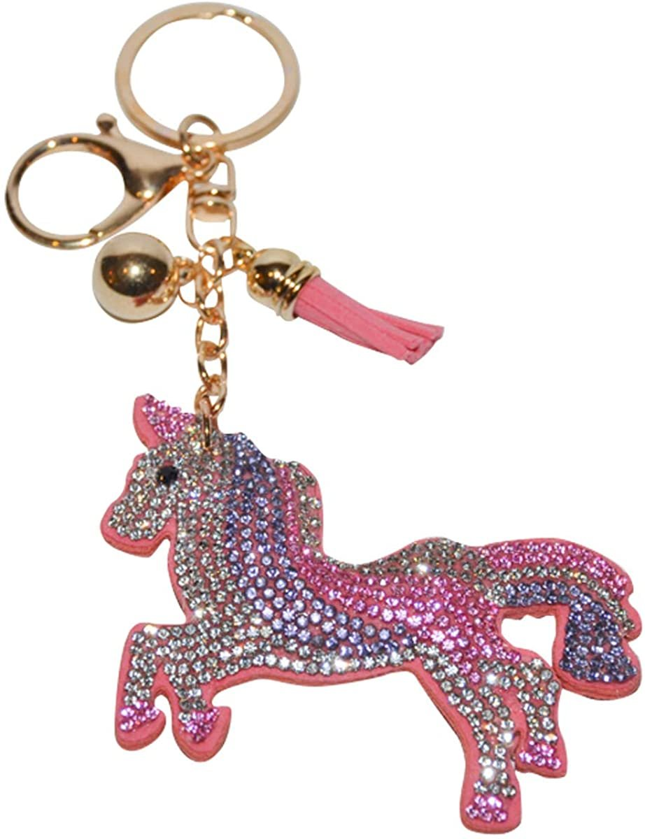 Unicorn Keychain for Girls and Women Crystal Bag Charm Bling Backpack Clip on