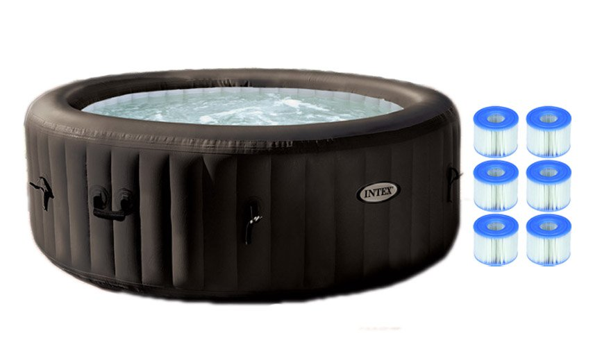 Intex Pure Spa 4-Person Inflatable Jet Massage Hot Tub w  Six Filter Cartridges by