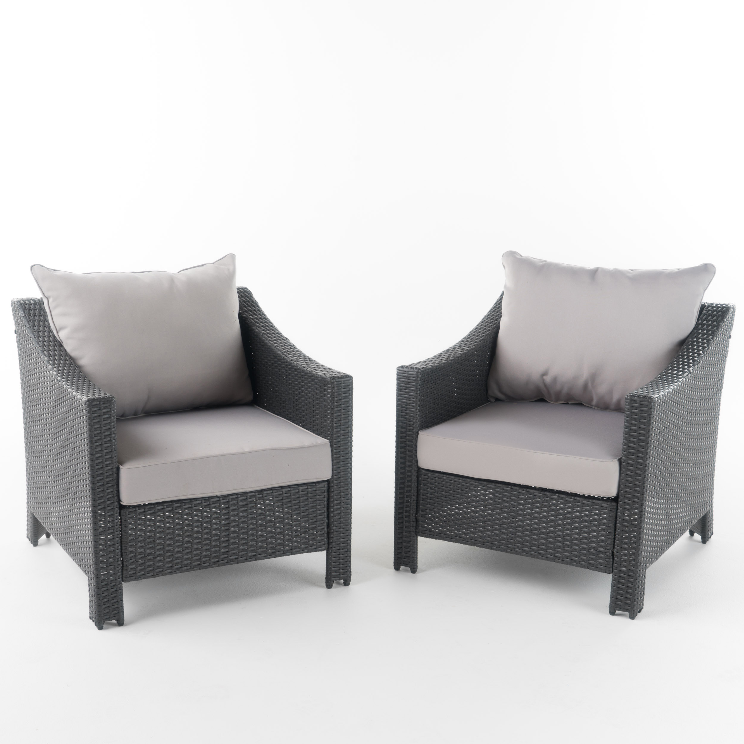 Cortez Outdoor Wicker Club Chair w/ Water-Resistant Fabric Cushions, Set of 2, Grey/ Silver