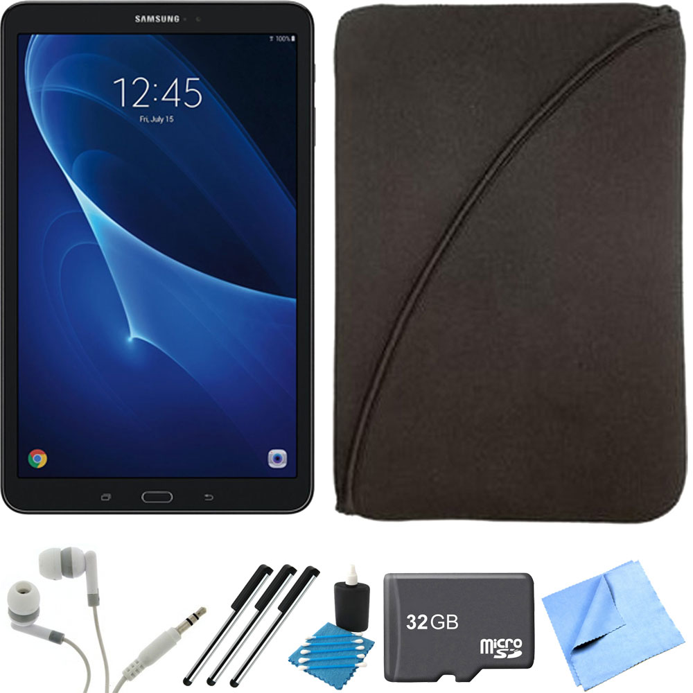 Samsung Galaxy Tab A 16GB 10.1-inch Tablet 32GB Card Bundle includes Tablet, 32GB microSD Memory Card, 3 Stylus Pens, Protective Sleeve, Metal Ear Buds, Cleaning Kit and Microfiber Cleaning Cloth