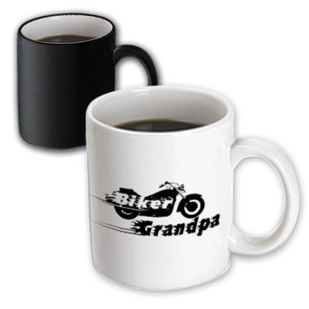 Coil Mug - 3dRose Biker Grandpa. motorbike motorcycle granddad. Fast bike. cool black and white flaming text. Grandad, Magic Transforming Mug, 11oz