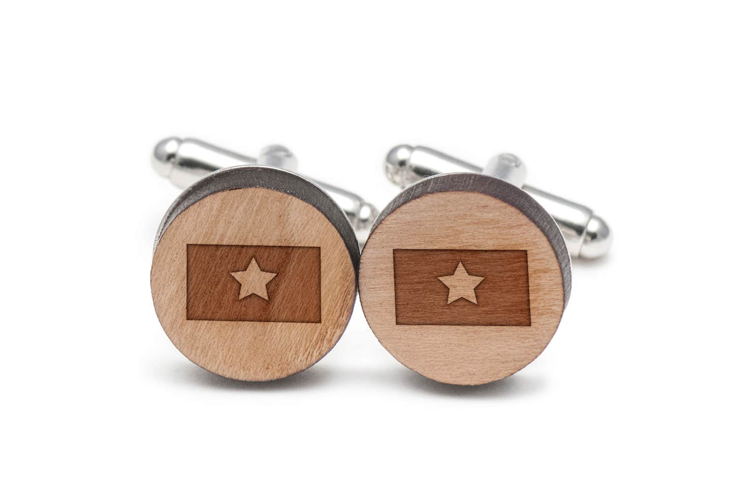 Vietnam Flag Cufflinks, Wood Cufflinks Hand Made in the USA by BigSpool Distributors