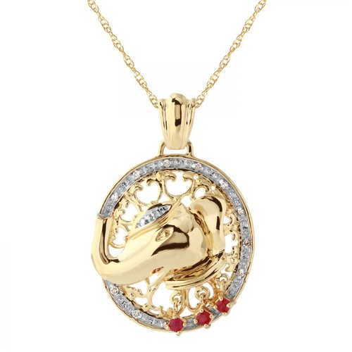 Ladies 0.17 Carat Diamond And Ruby 14K Two tone Gold Necklace by Generic