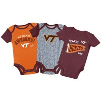 Newborn & Infant Russell Athletic Maroon/Orange/Heathered Gray Virginia Tech Hokies 3-Pack Team Bodysuit Set