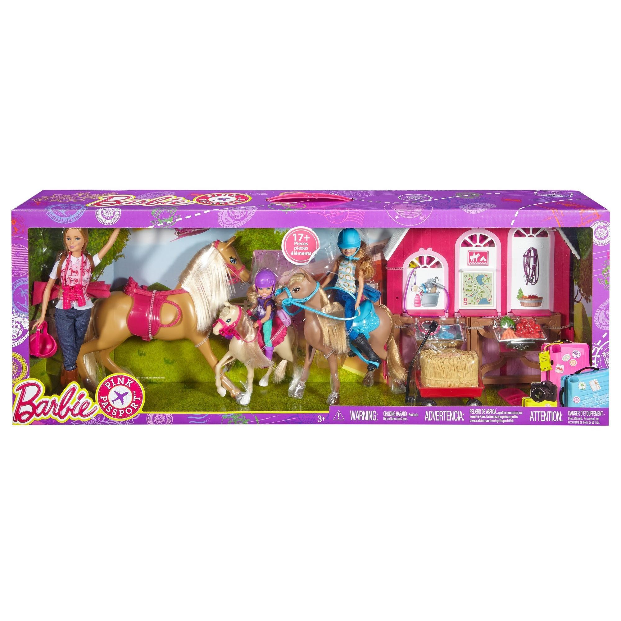 Barbie Horse Ranch Playset With Barbie Stacie And Chelsea Doll Walmart Com Walmart Com