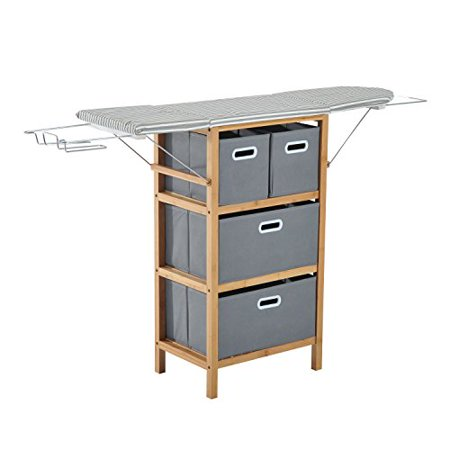 Collapsible Drop Leaf Ironing Board Shelving Unit With Folding Storage Boxes - Grey Stripes