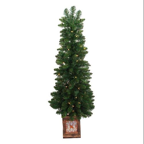 4' Pre-Lit Fancy Potted Aurora Pine Artificial Christmas Tree - Clear Lights
