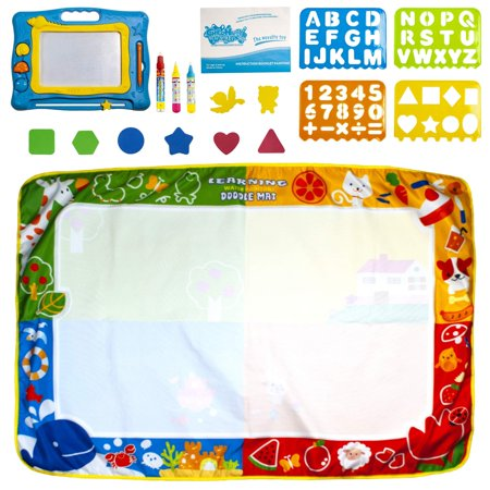 Aquadoodle Mat - |1 Large Aquadoodle Mat + A bonus Magnetic Drawing Board toy| Magic Doodle Aqua Mat & Magna Drawing Board/ Pad | 2 toys + many accessories | For boys & girls, Ages 3,4,5,6...18, toddler to teen|