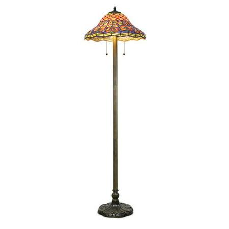 Bronze Peacock - Serena d'italia Tiffany 2 light Peacock 58 in. Bronze Floor Lamp
