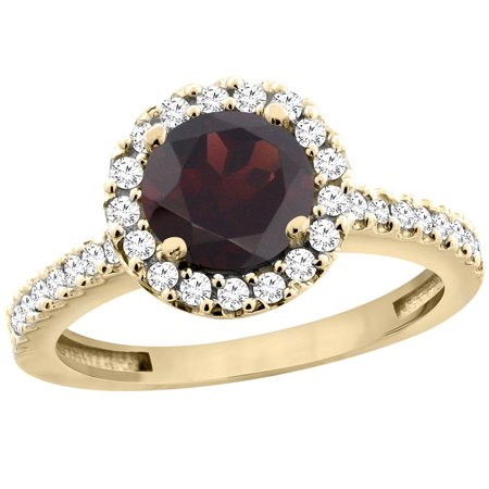 14K Yellow Gold Natural Garnet Ring Round 6mm Floating Halo Diamond, size 5
