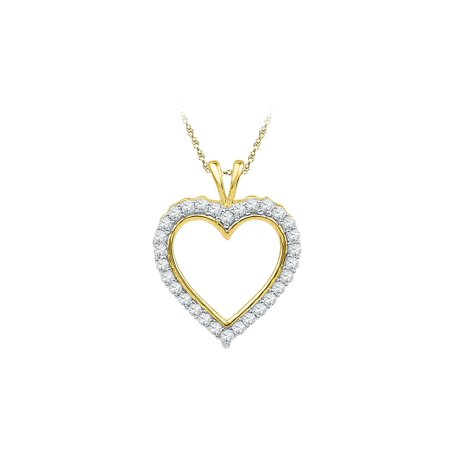 1/4 Carat (ctw J-K, I2-I3) Heart Diamond Pendant Necklace in 10K Yellow Gold with Chain - image 1 of 1