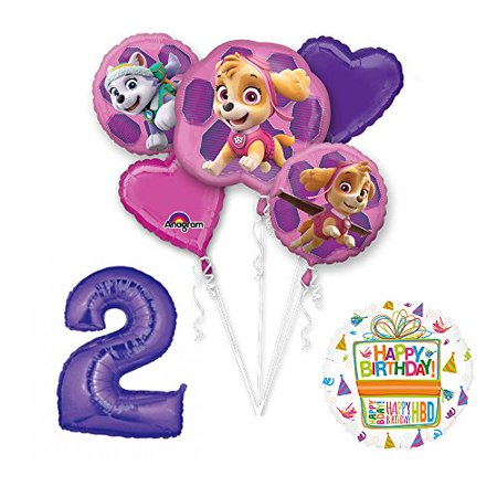 PAW PATROL SKYE & EVEREST 2nd Birthday Party Balloons Supplies Chase Ryder