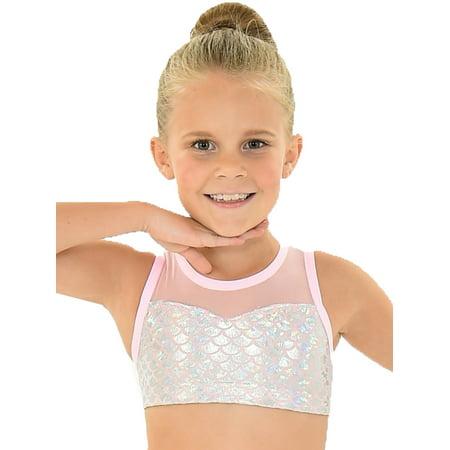 Little Girls Pink Mermaid Foil Back Neck Closure Mermaid ARIEL Bra Top - Seashell Mermaid Bra