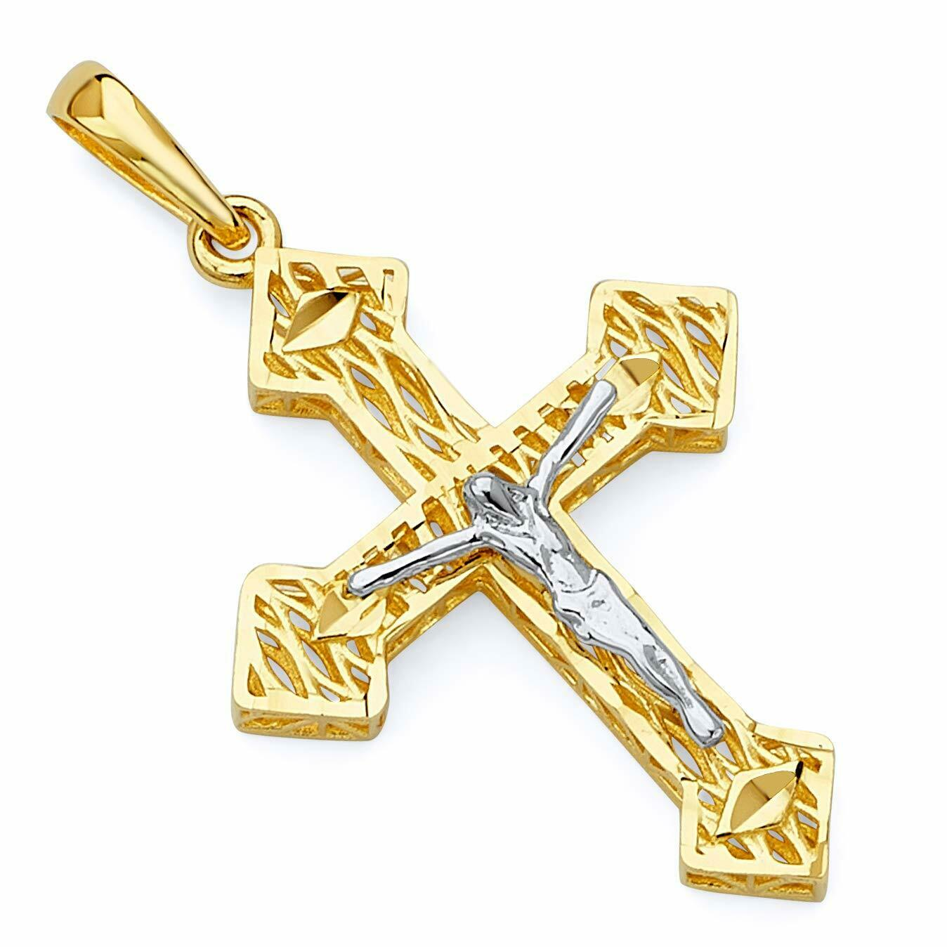 Mia Diamonds 14k Gold Rhodium-plated Polished INRI Crucifix Pendant