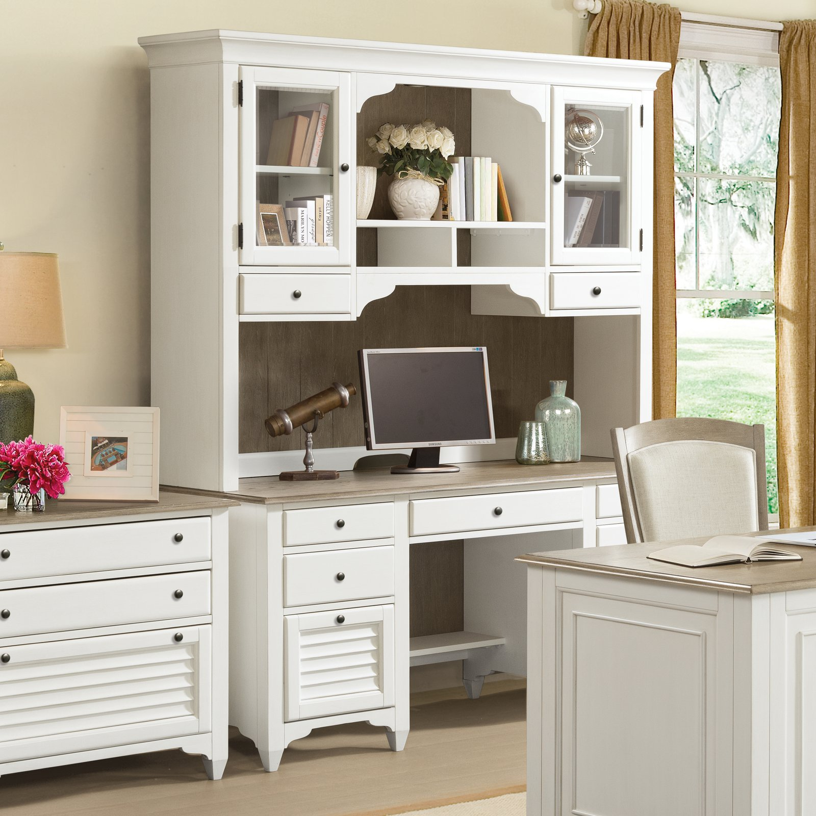 Riverside Furniture Myra Credenza Desk With Optional Hutch   Walmart.com