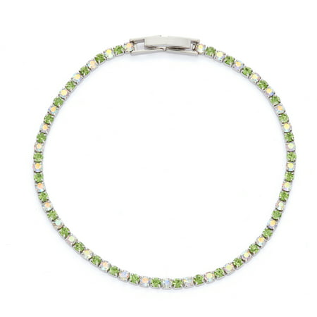 X & O Rhodium Plated Crystal Single Row Bracelet in Peridot and Crystal AB Combination