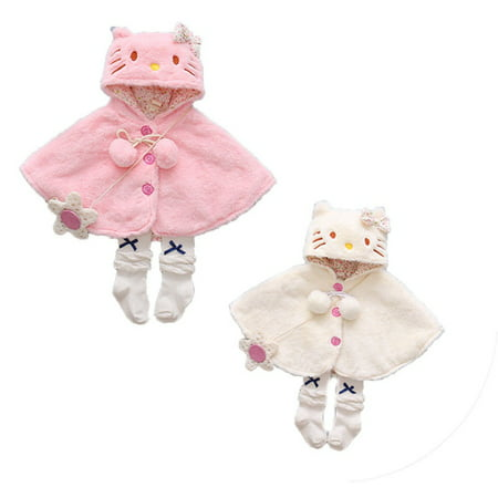 Newborn Baby Girls Thick Coat Hooded Cloak Poncho Jacket Outwear Coat Clothes 0-24M ()
