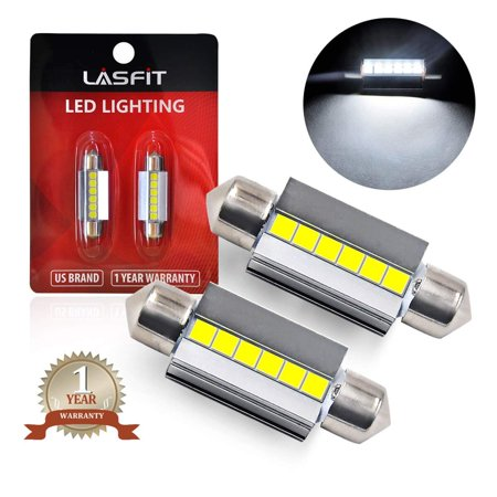 LASFIT 36mm LED Festoon 6418 6411 DE3425 Bulb Canbus Error Free 400LM 6000K Extremely Bright Use for Dome Map Door License Plate Trunk Vanity Mirror Lights, Xenon White (Pack of - Bulb 36 Mm Festoon