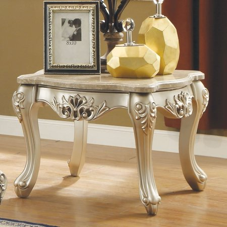 Benzara Marble Top Wooden End Table with Queen Anne Style Legs, Champagne Gold (Queen Anne Rectangular Leg Table)