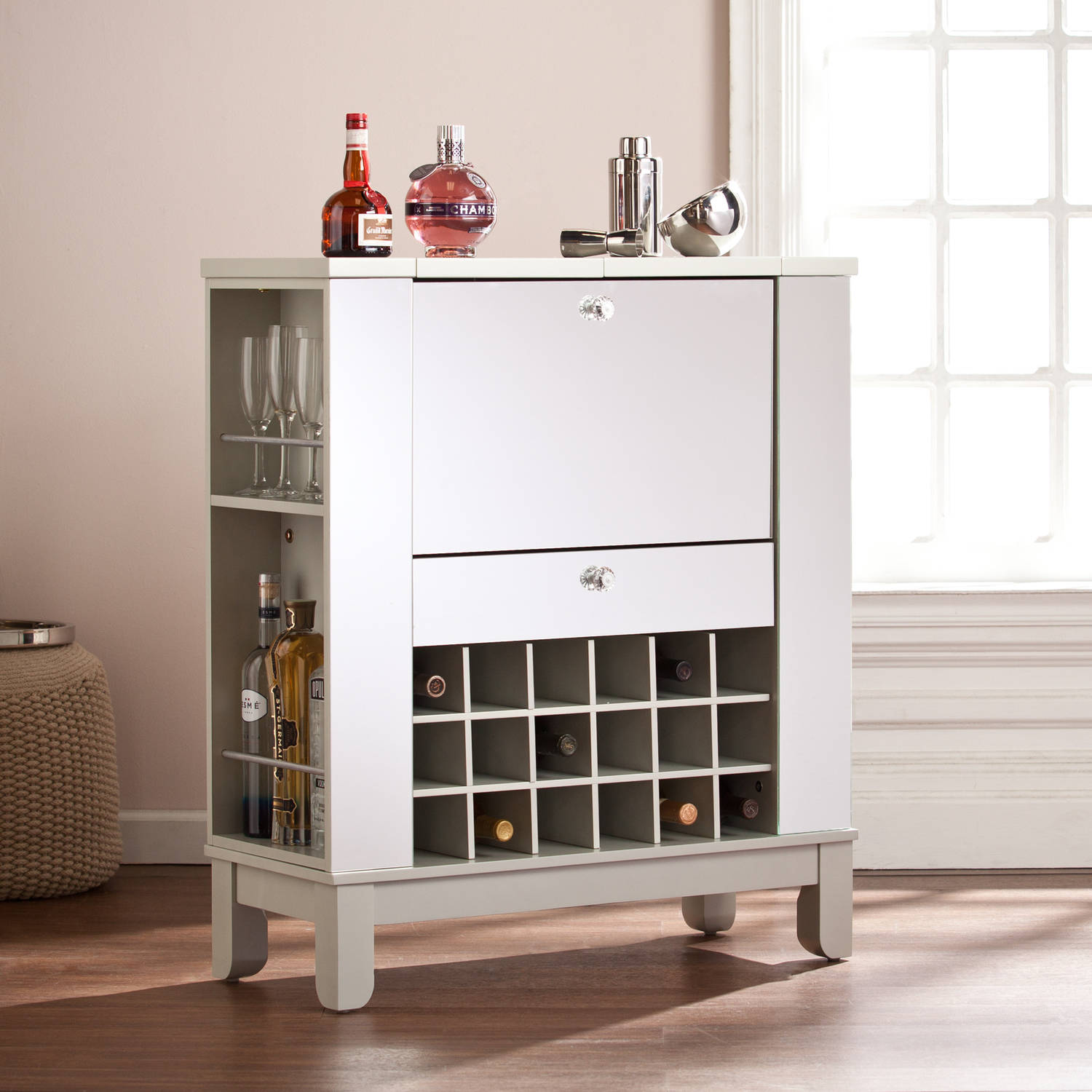 Southern Enterprises Illusions Mirrored Fold-Out Wine/Bar Cabinet, Silver
