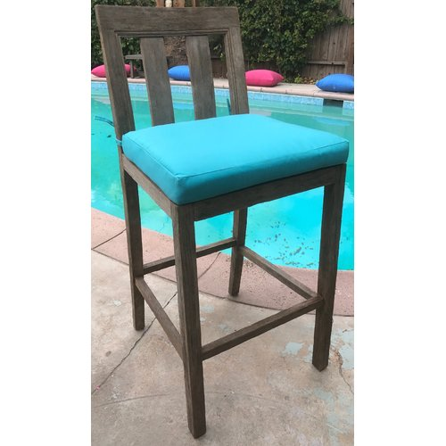Brayden Studio Yandell Teak Outdoor 29'' Patio Bar Stool with Cushion (Set of 2)