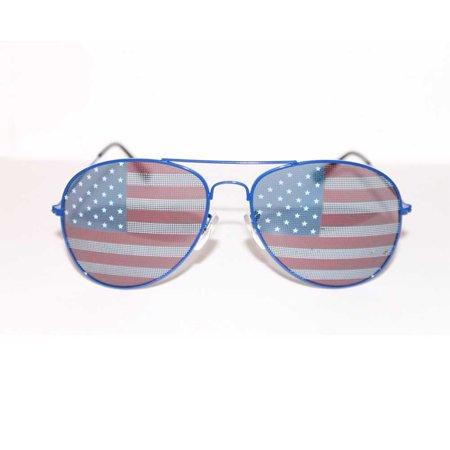 American Flag Aviator Sunglasses With Blue Frames USA July 4th Independence (Julbo Aviator)