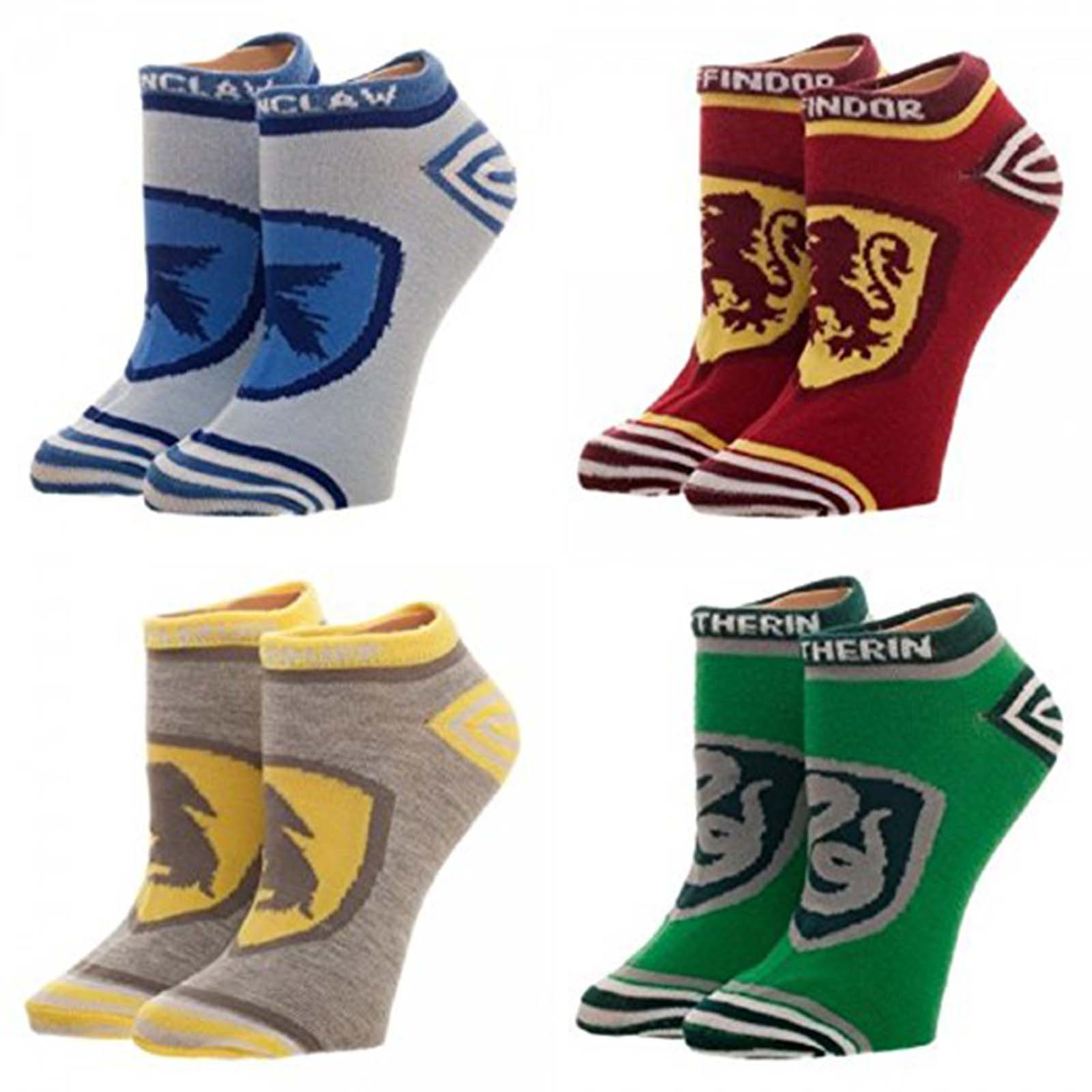 Harry Potter Hogwarts House Crests Juniors 4 Pairs Of Ankle Socks