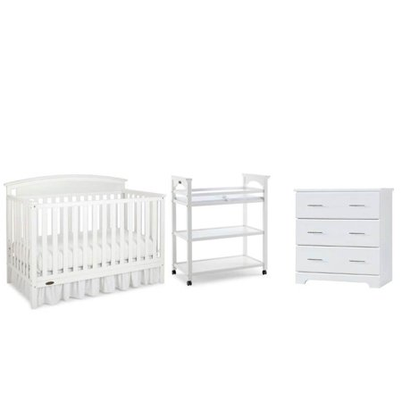 3 Piece Nursery Furniture Set With Crib Chest And Changer In White