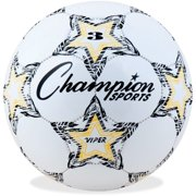 Champion Sports Viper Soccer Ball, Size 3, Black, White and Yellow