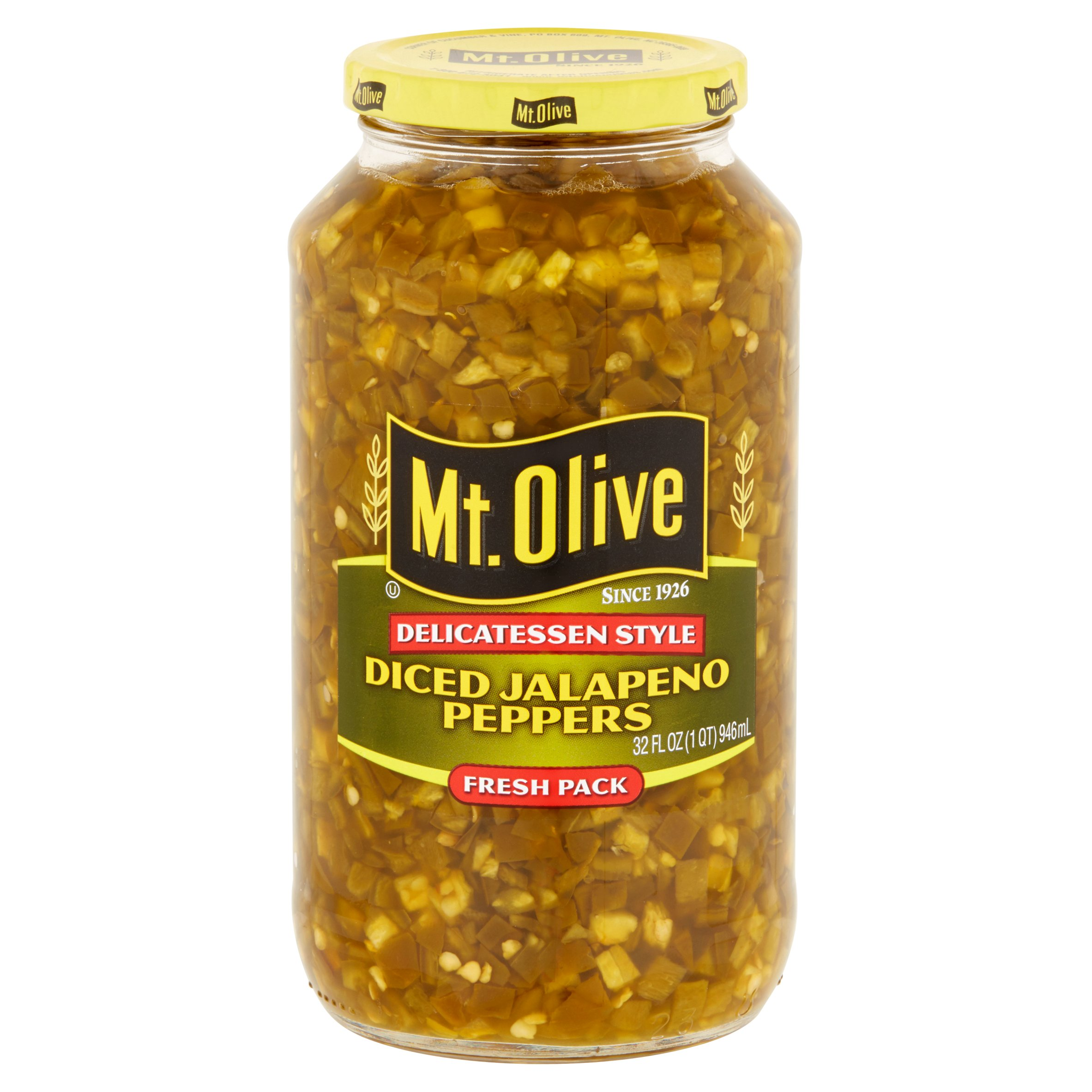 (6 Pack) Mt. Olive Diced Jalapeño Peppers, 32 Oz