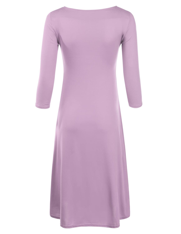 Doublju Doublju Womens Long Sleeve Flowy Tunic Dress Plain Swing