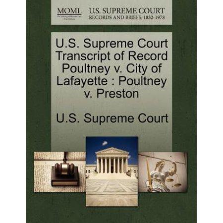 U.S. Supreme Court Transcript of Record Poultney V. City of Lafayette : Poultney V. - Party City Lafayette In