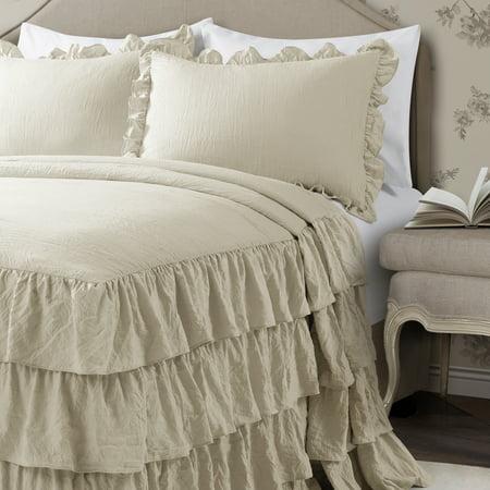 Full 3pc Allison Ruffle Skirt Bedspread Set Neutral - Lush Décor