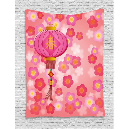 Lantern Tapestry, Chinese New Year Theme Cherry Blossom Auspicious Festive Celebration Print, Wall Hanging for Bedroom Living Room Dorm Decor, Pale Pink Yellow, by - Chinese New Year Celebration Ideas