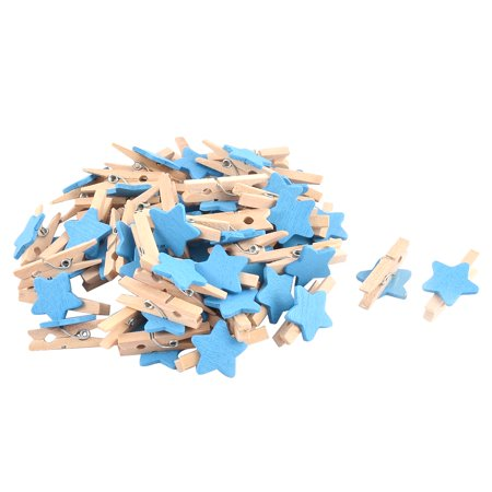 Unique Bargains Card Photo Paper Clothespin Pegs Star Crafts  Wooden Clip Blue 50pcs - Blue Clothespins