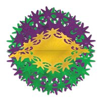 Club Pack of 12 Metallic Gold, Green and Purple Star Ball Hanging Party Decorations 12""