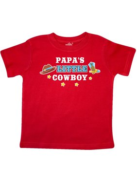 Papas Little Cowboy with Cowboy Hat and Boots Toddler T-Shirt