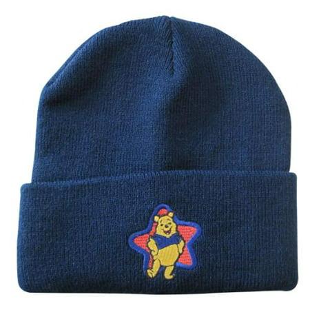 Girls Navy Winnie The Pooh Star Applique Folded Edge Beanie Hat