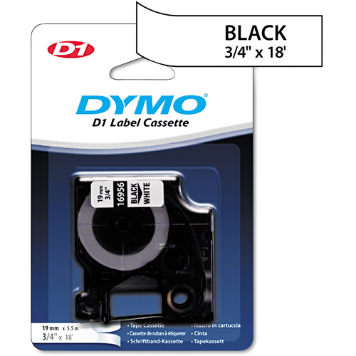 DYMO D1 Permanent High-Performance Polyester Label Tape, 3/4in x 18ft, Black on White