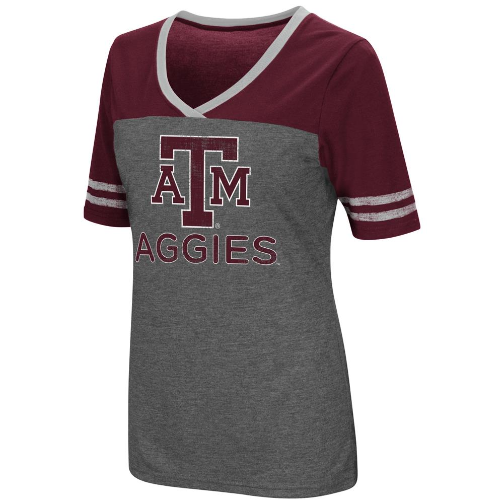 Ladies Colosseum Mctwist Texas A&M Aggies Jersey T Shirt