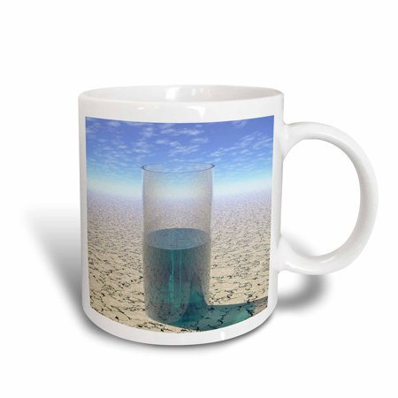 3dRose Glass of Water shows a half full glass of water on parched desert surface under sun, Ceramic Mug, (Desert Glasses Com)