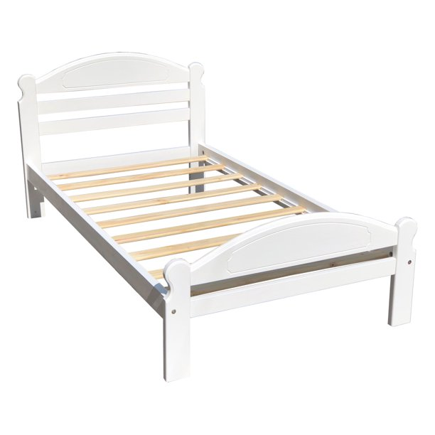 Twin Bed White Kids Arizona Wooden Single Bed Frame Solid Pine Wood