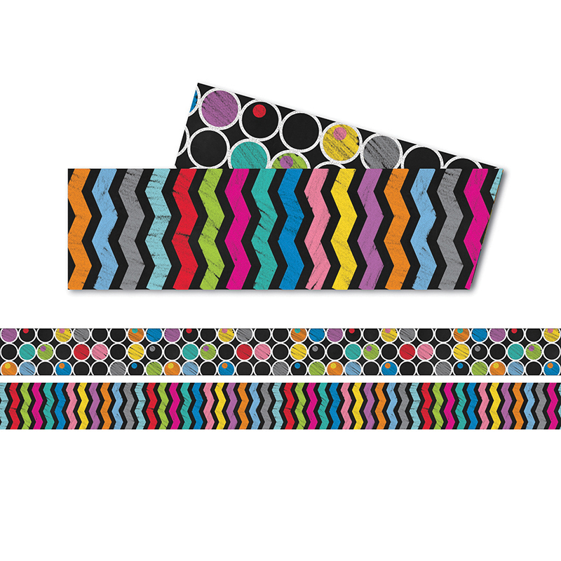 (6 Pk) Colorful Chalkboard Straight Border Two Sided
